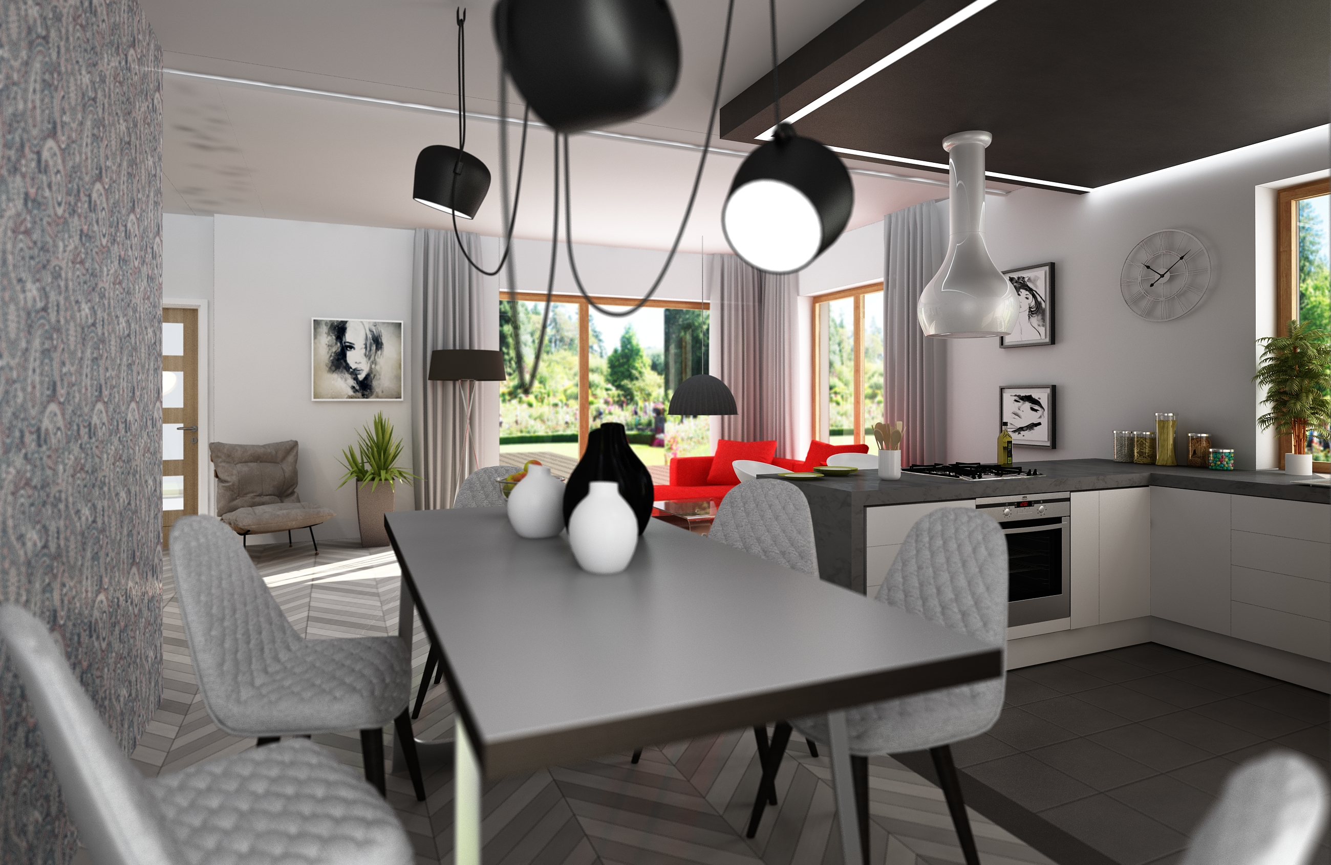 Salon Z Kuchnią Dom 100 M2 W Warszawie Minosa Design